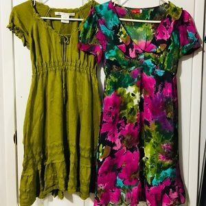 LOT OF 2 RUFFLED SUMMER SPRING DRESSES XS / S